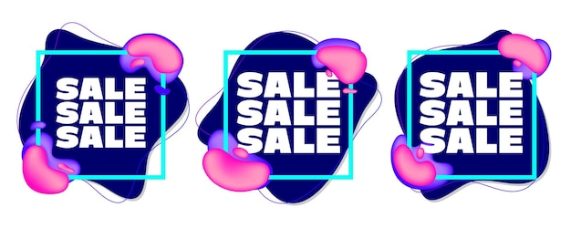 Set verkoop aticker met minimalistisch vierkant frame en abstracte vloeistof