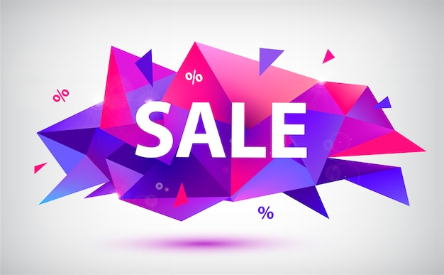 Set verkoop gefacetteerde geometrische banners, posters, kaarten. abstracte kortingsvormen. gebruik voor reclame, web