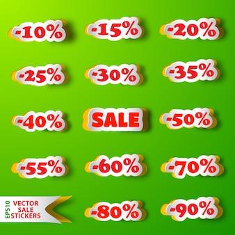 Set verkoop korting stickers