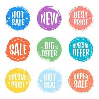 Set verkoop tag tags. grungezegels, kentekens en banners. premium kwaliteitsgarantie, bestseller, beste keuze, verkoop, speciale aanbieding. banieren en stickers.