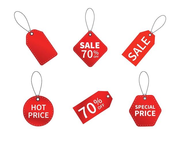 Set verkoop tags. roodgloeiende prijs- en kortingsetiketten.
