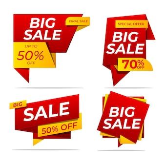 Set verkoopbanners in vlakke stijl voor websiteontwerp. rode en gele kortingsposters, sale tag, label, badge. grote uitverkoop, 50% korting, tot 50% korting, speciale aanbieding.