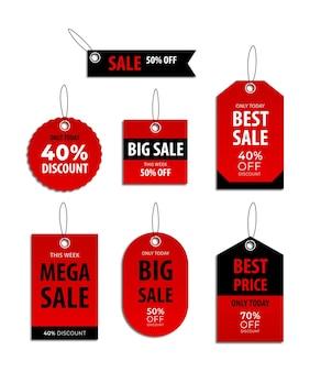 Set verkooplabelverzameling voor prijskaartje of kortingslabel