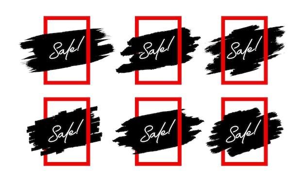 Set verkoopsticker met vierkant frame en