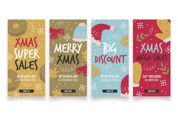 Set verkoopverhalen van kerstmis