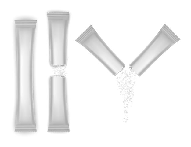 Set verpakkingsstokje van witte kleur, verpakkingszakje