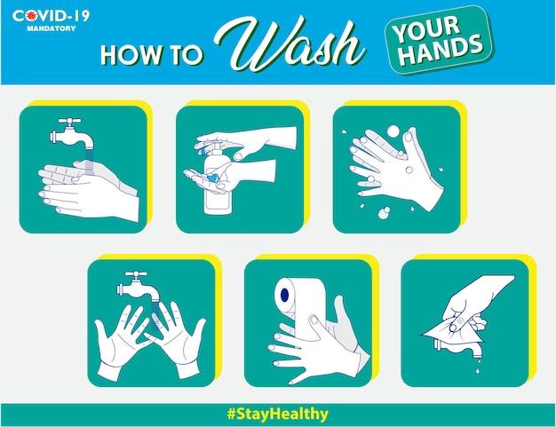 Set verplicht teken of waarschuwingsbord corona virus poster of 2019ncov virussen of was je hand