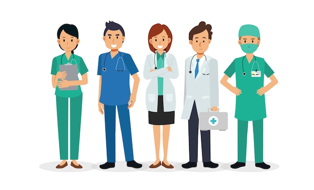 Set verschillende arts stripfiguren. medisch personeel team concept in het ziekenhuis. illustratie