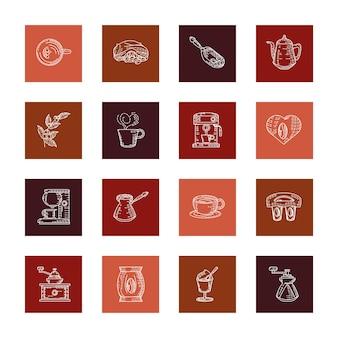 Set verschillende koffiespecialiteiten schets