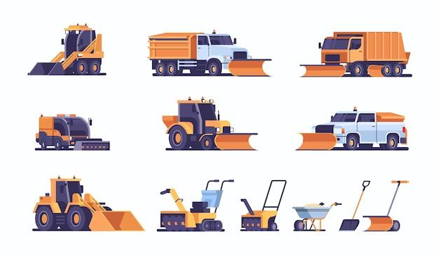 Set verschillende sneeuwschuiver apparatuur collectie professionele schoonmaak weg door sneeuwval winter sneeuwruimen concept vlak en horizontaal vector illustratie