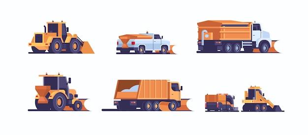 Set verschillende sneeuwschuiver winter voertuig uitrusting collectie professionele schoonmaak weg door sneeuwval sneeuwruimen concept achteraanzicht industrieel vervoer vlak en horizontaal vector illustratie