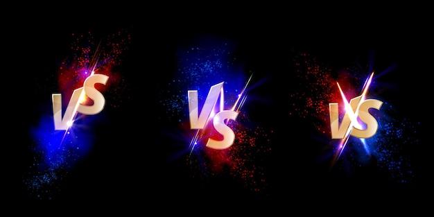 Set versus vs gouden borden met gloed en vonken