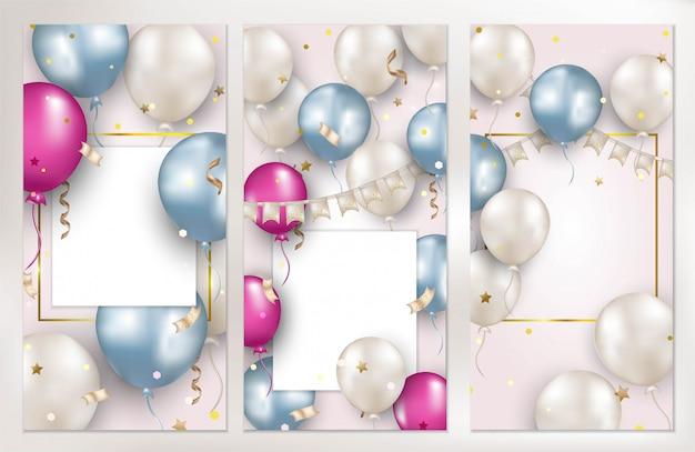 Set verticale dekking. verjaardag wenskaarten met vliegende ballonnen.