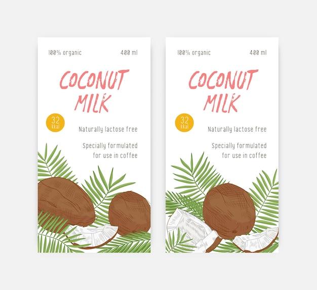 Set verticale labelsjablonen voor kokosmelk met kokosnoten en palmbladeren
