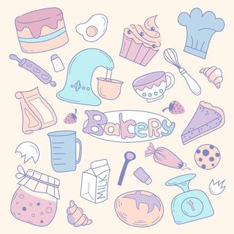 Set verzameling doodle bakkerij winkel apparatuur. illustratie