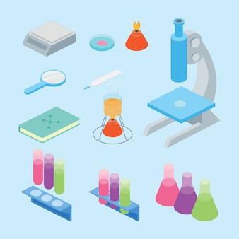 Set verzameling laboratoriumwetenschappelijke hulpmiddelen