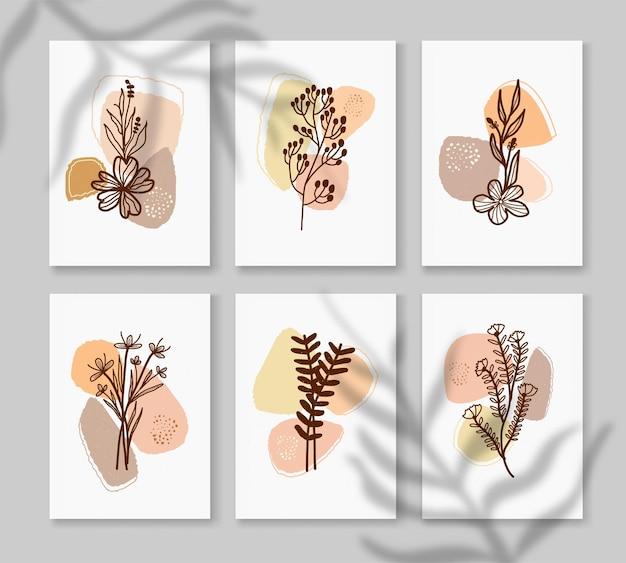 Set verzameling poster abstract boho in minimale en natuurlijke stijl met tropisch blad afdrukbare kunst aan de muur