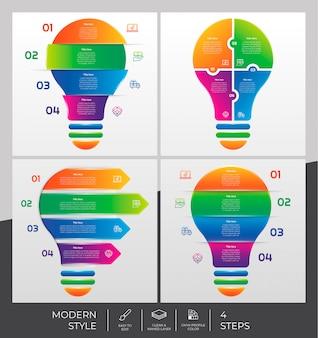 Set verzameling van stap infographic met 4 stappen & kleurrijke stijl voor presentatiedoeleinden, business en marketing.