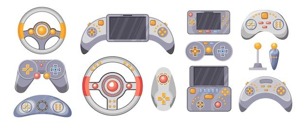 Set videogame-joysticks. consoles, gamepads voor het spelen van videogames, draadloze gaming-gadgets, gamepad, stuur