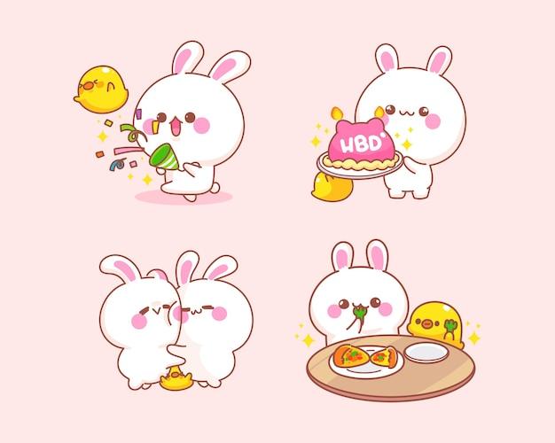 Set vieren konijn met eend cartoon afbeelding