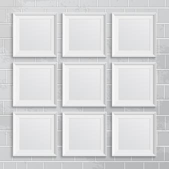 Set vierkante afbeeldingsframes op bakstenen muur. illustratie