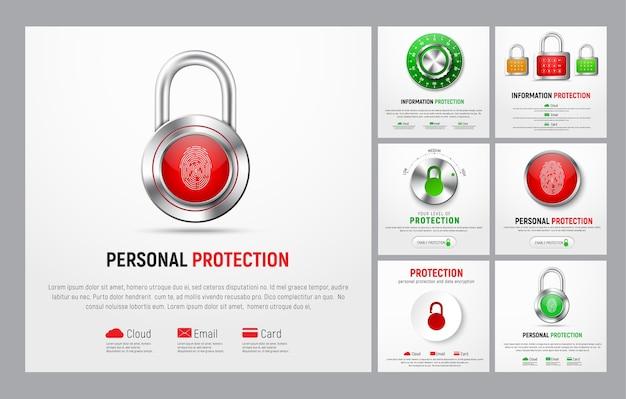 Set vierkante banners om informatie te beschermen. websjablonen met hangslot, knop met vingerafdruk, mechanisch slot en niveauregelaar voor de cloud, post en bankpassen.