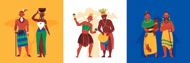 Set vierkante composities met zwarte afrikaanse mensen