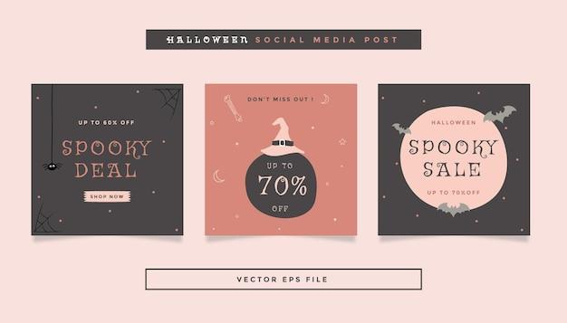 Set vierkante flyerpost met grijs oranje roze kleuren halloween-thema voor sociale media
