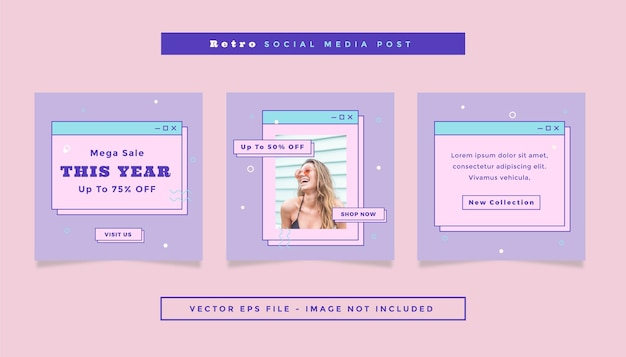 Set vierkante flyerpost met paars roze kleuren online winkelthema voor sociale media.