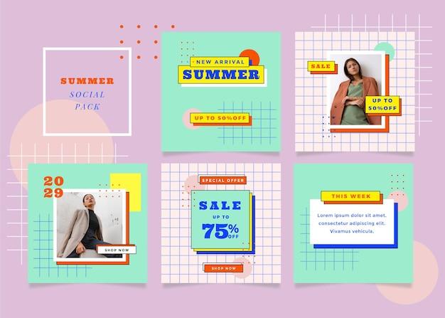 Set vierkante flyerpost met zomeruitverkoopthema voor sociale media