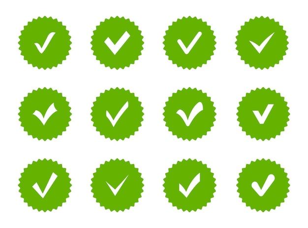 Set vinkje badges profiel verificatie icoon goedgekeurd icoon