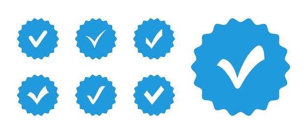 Set vinkje-badges profielverificatiepictogram