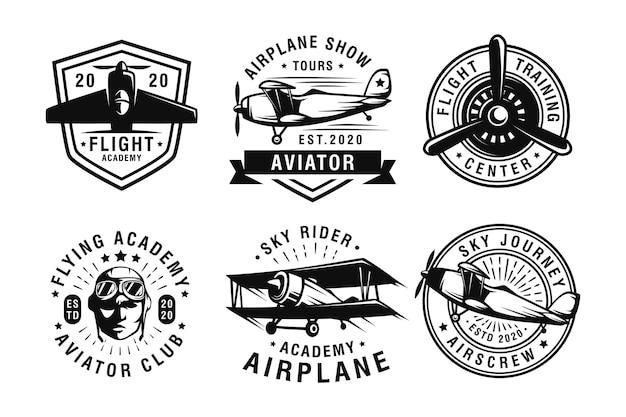 Set vintage aircraf logo
