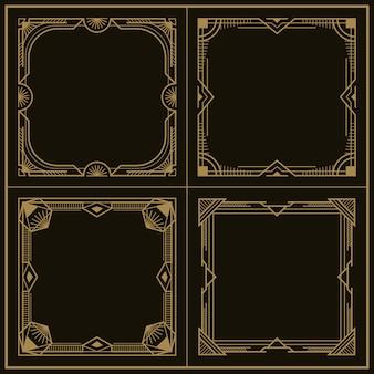 Set vintage art deco vector frames