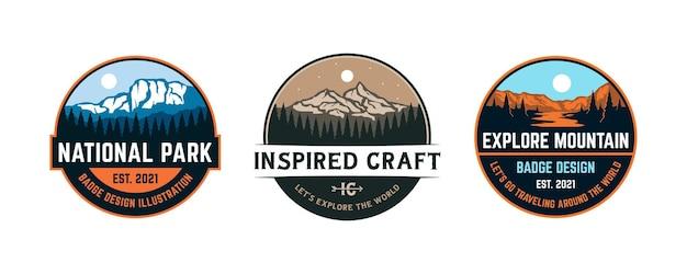 Set vintage badge verkennen berg avontuur logo collectie