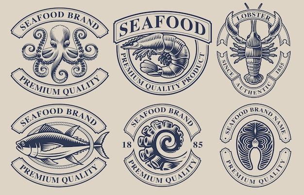 Set vintage badges voor zeevruchten thema. perfect voor logo's, emblemen, etiketten en vele andere toepassingen. tekst staat op de aparte groep.