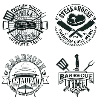 Set vintage barbecue restaurant logo-ontwerpen, grange print stempels, creatieve grill bar typografie emblemen
