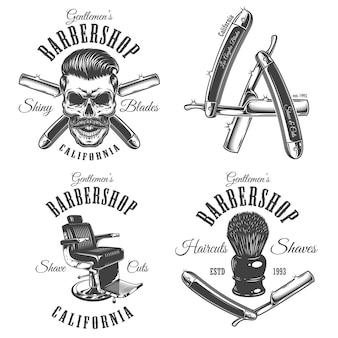 Set vintage barbershop emblemen