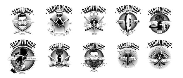 Set vintage barbershop emblemen.
