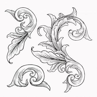Set vintage barokke frame scroll ornament