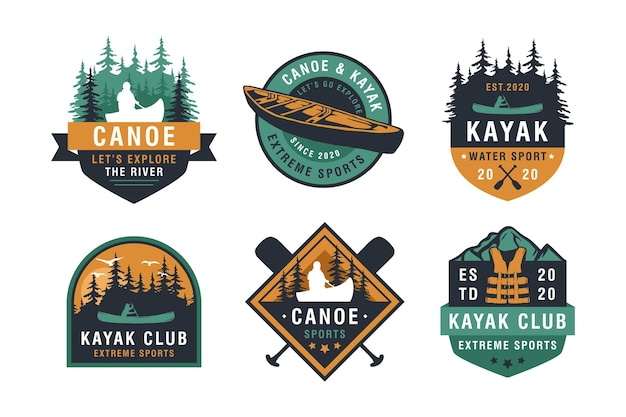 Set vintage berg, raften, kajakken, peddelen, kanoën kamp logo, emblemen