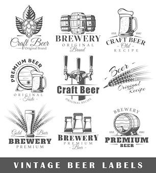 Set vintage bier etiketten
