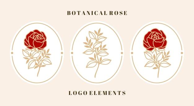 Set vintage botanische roze bloem en bladelement voor vrouwelijk schoonheidslogo