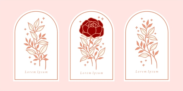 Set vintage botanische roze roos, pioenroos bloem en bladelementen voor schoonheidsmerk of bloemen vrouwelijk logo