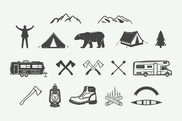Set vintage camping buiten en avontuur elementen