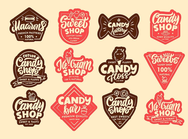 Set vintage candy emblemen en patches. snoepwinkelbadges, stickers. handgetekende tekst, zinnen.