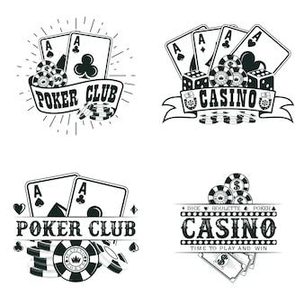 Set vintage casino logo-ontwerpen