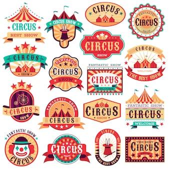 Set vintage circus emblemen