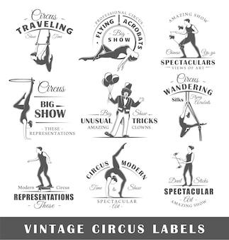 Set vintage circus etiketten