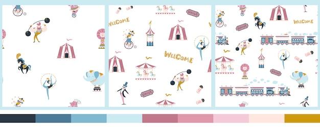 Set vintage circus naadloze patronen. eenvoudige handgetekende cartoonstijl. schattige karakters van mensen en getrainde dieren, treinen en ritten.